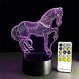 Tischleuchte Zebra-Schreibtischlampe 3d 7 Farben ändern Noten-Schalter Fernbedienung Tabelle LED-Licht-Nachtbeleuchtung Hauptdekoration Haushaltszubehör