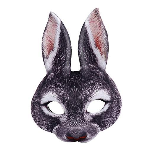 Hase Schwarzer Maske Kostüm - Amosfun Kaninchen Halbe Gesichtsmaske Hasen Ohr Maske für Ostern Karneval Party Kaninchen Kostüm (Schwarz)