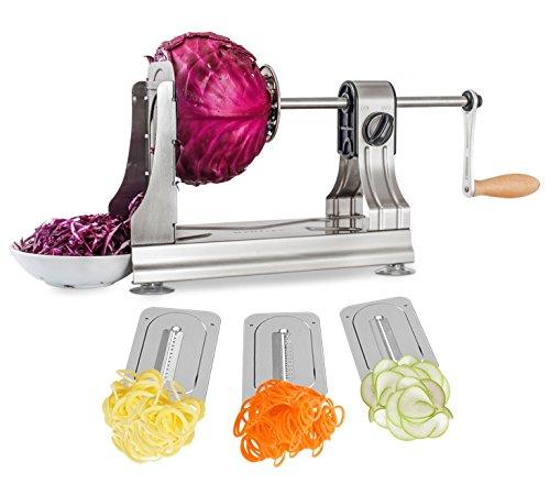 WellToBe Spiralschneider Spirali mit 3 Klingen und 4 Saugnapf für Spiralen Veg Pasta, Hand Gemüse Spiralschneider Für Karotte,Gurke,Kartoffel,Kürbis,Zucchini Zucchini-spaghetti-maker Mandoline
