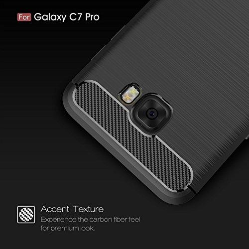 YHUISEN Samsung C7 Pro Case, Ultra Light Carbon Fiber Rüstung ShockProof gebürstet Silikon Griff Fall für Samsung Galaxy C7 Pro ( Color : Gray ) Navy