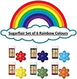 Sugarflair Rainbow Set of 6 Food Colour Gel Pastes. Perfect for Cake Decorating, Baking & Much More