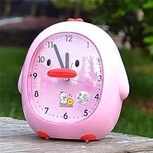 NAOZHONG Dibujos animados creativos niños despertador hablar voz despertadores con luminiscentes Slacker levanta ultra silencioso , pink little duck