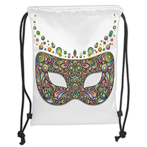 g Backpacks Bags,Masquerade,Mask in Psychedelic Art Design Pop Makeup in Vibrant Rainbow Colors Pattern,Multicolor Soft Satin,5 Liter Capacity,Adjustable String Closure,Th ()