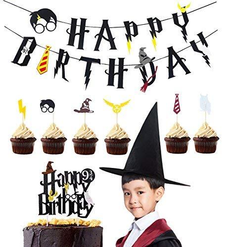 LUCK COLLECTION Harry Potter Party Supplies Geburtstag Banner Cupcake Toppers Zauberer Hut Cake Topper für Geburtstag ()