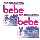 bebe Relaxing Nachtpflege/Feuchtigkeitsspendende Nachtcreme für entspannte und weiche Haut/2 x 50ml