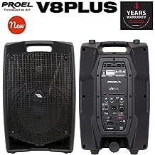 Proel V8PLUS Cassa Monitor Diffusore bi-amplificato a 2 vie 400W Picco, Nero