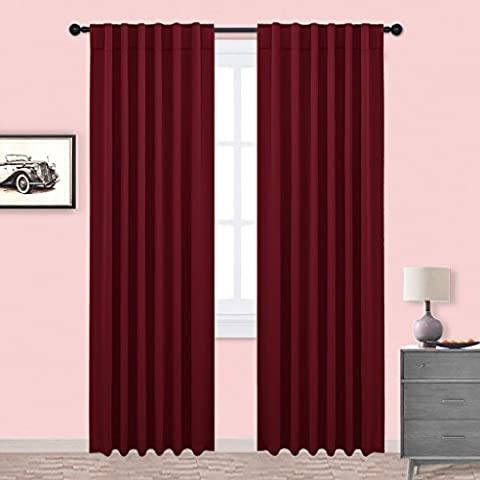 Blackout Curtains Window Drapes Treatment - PONY DANCE Thermal Insulated Room Darkening Back Tab & Rod Pocket Blackout Curtain Panels for Window Treatments, Bedroom & Kitchen, 52