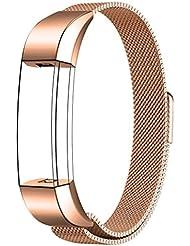 Fitbit Alta HR y Alta Correa, Swees Reemplazo SmartWatch Band de Reloj de Acero Inoxidable Milanese Bucle de Cierre Pulsera para Fitbit Alta HR y Alta - Oro rosa
