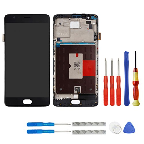 swark AMOLED Display Compatible with ONEPLUS 3 Three A3000 A3003 5.5 ONEPlus 3T A3010 + Rahmen Reparatur Schwarz+Tools