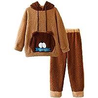 DUKUNKUN Cute Dibujos Animados Pijamas Mujer Invierno Cálido Grueso Lindo con Capucha Pijamas,L