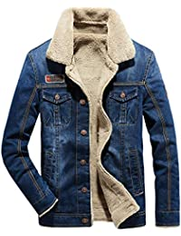 66850a029d7f LCXYYY Herren Wintermantel Jeans Jacke Mäntel Denim Jeansjacke Winter Denim  Jacket Gefütterte Revers Slim Fit Winterjacke