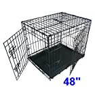 Ellie-Bo Dog Puppy Cage Folding 2 Door Crate with Non-Chew Metal Tray XXL 48-inch Black