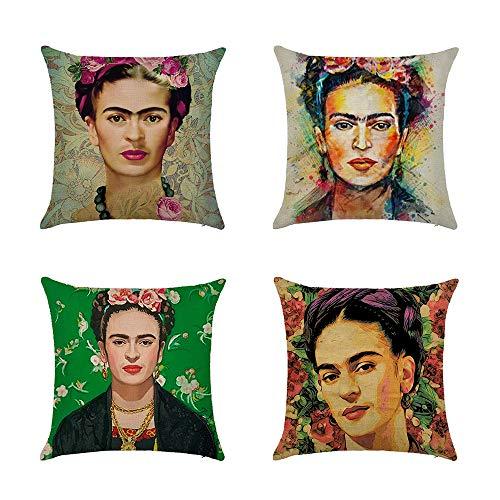 Ozar Kissenbezüge, 4 Stück, Frida Kahlo Selbstportrait-Leinenkissenbezüge, für Sofa, Auto, Heimdekoration, 45,7 x 45,7 cm, C, 45,7 x 45,7 cm