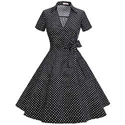 Timormode Mujer A-Línea Manga Corta Retro 1950s Vintage Prom Vestidos Negro Pequeño Punto M