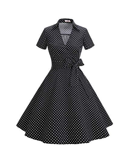 Timormode Robe Années 50's Audrey Hepburn Rockabilly Swing,Plissé Robe à Manches Courtes 10084Small Black White M