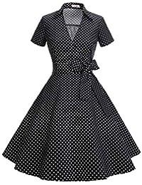 Timormode Robe Années 50's Audrey Hepburn Rockabilly Swing,Plissé Robe à Manches Courtes