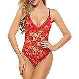 Bodys CLOOM Damen Erotische Skiny Unterwäsche Sexy Lingerie Casaul Playsuit Frau Babydoll Elegant Lace See Through Reizwäsche V-Ausschnitt Damen Dessous Blumen Rassige Nightwear (Rot, M)