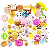 HAOHONG pack of 15 Cute Soft Squishy Foods,Panda Bread Cake,Charm Gift,Cell Phone Straps