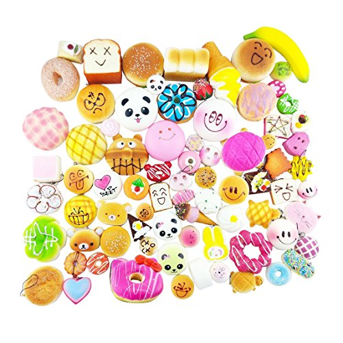 pack of 15 Cute Soft Squishy Foods,Panda Bread Cake,Charm Gift,Cell Phone Straps