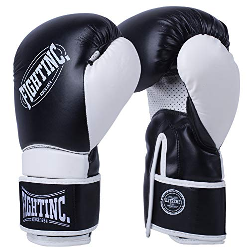 Fightinc. Boxhandschuhe Fighter - 8 10 12 14 16 Oz Männer Frauen für Boxen Kickboxen Muay Thai MMA Kampfsport schwarz weiß rot UVM schwarz (001) 12 Oz