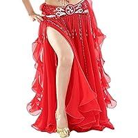 YuanDian Donna Sala da ballo colore solido di danza del ventre a lungo a doppia apertura Gonna foglie arricciate Gonna Modern Dance Costume Full Circle abito da ballo Gonne