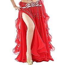 YuanDian Mujer Profesional Color Sólido Gasa Danza del Vientre Alta Falda de Hendidura Swing Maxi Falda