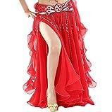 YuanDian Mujer Profesional Color Sólido Gasa Danza Del Vientre Alta Falda de Hendidura Swing Maxi Falda Ropa Danza Moderna Rojo(Sin incluir el cinturón)