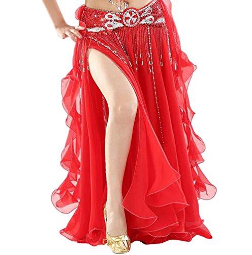 YuanDian Damen Chiffon Einfarbig Professionelle Tänzerin Bauchtanz Spliss Öffnungs Swing Long Rock Tanzkostüm Bauch Dance Kleid Rot (Nicht inbegriffen ist (Rote Und Schwarze Tanzkostüme)