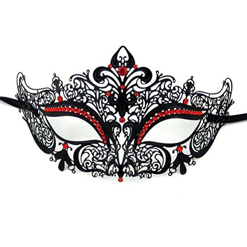 Xvevina, maschera in stile veneziano di alta qualità, lucida e in filigrana di metallo, metallo, black metal red stones crown, taglia unica