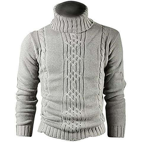 SODIAL (R) Moda Stampa grigio chiaro maglione di lana vera cappotto di lana cardigan cotone uomo XXL