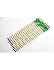 Longbowmaker 12 flèches en bois de cèdre avce des plumes vertes de turquie le Nock de Soi –même Tir à l'arc des flèches avec Hunting Broadheads SW3G1
