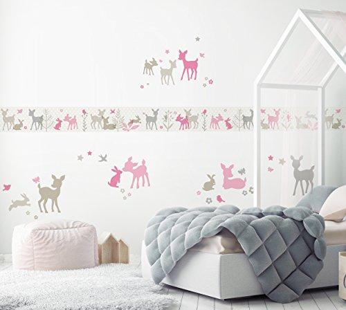 lovely label Bordüre selbstklebend HÄSCHEN & REHE ROSA/GRAU/BEIGE –  Wandbordüre Kinderzimmer / Babyzimmer mit Hase und Reh in versch. Farben –  ...