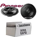 Skoda Rapid Front Heck - Lautsprecher Boxen Pioneer TS-G1730F - 16cm 3-Wege Koax Paar PKW 300WATT Koaxiallautsprecher Auto Einbausatz - Einbauset