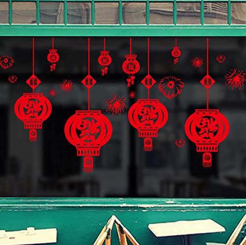 Yzybz Red Segen Laterne Chinesischen Stil Neue Jahr Wandaufkleber Wohnkultur Wohnzimmer Dekoration Zubehör Wandtattoos Tapete