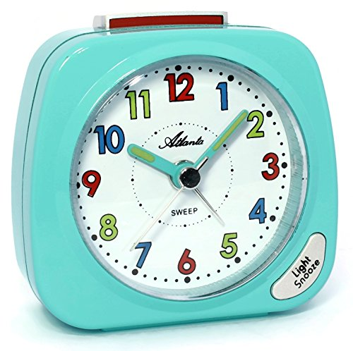 Atlanta Kinderwecker Ohne Ticken Licht Snooze Analog Türkis Blau 1936-15