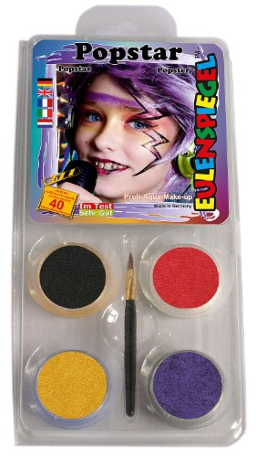204597 Set de maquillage pop star, pinceau et instructions 4 couleurs