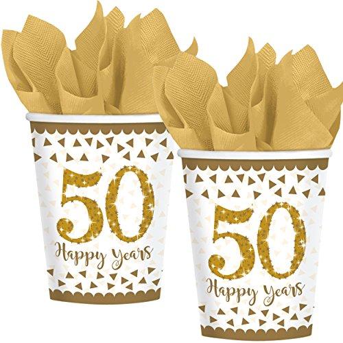 8 Gobelets glitzernde * 50 - Happy Years * en or Sparkling Gobelet en carton pour 50e anniversaire, mariage ou anniversaire d'or//Party Set de gobelets