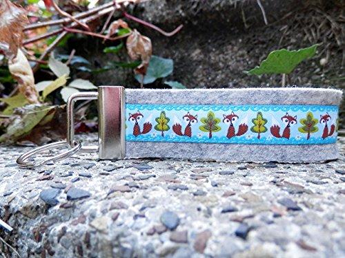 Schlüsselanhänger Schlüsselband Wollfilz hellgrau Füchse hellblau braun Geschenk!