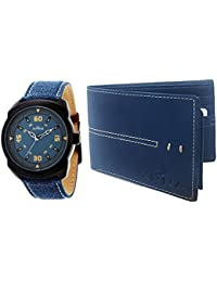 XPRA Analog Watch & Blue Leather Wallet For Men/Boys Combo (Pack of 2) - (WCH-WL-4)