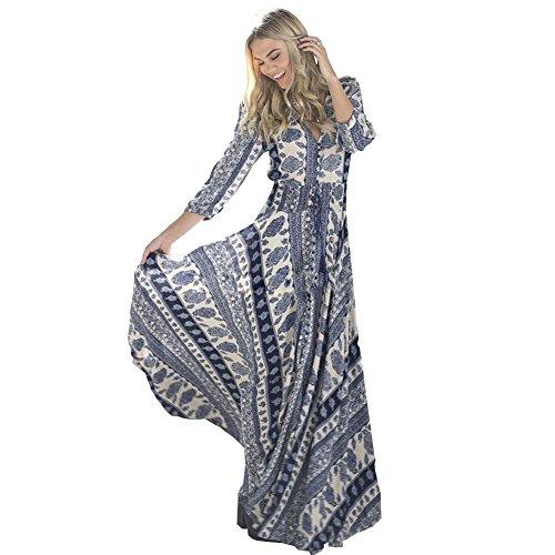 ou-grid-robe-trapeze-manches-3-4-femme-bleu-xx-large
