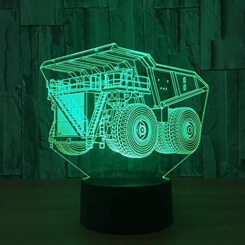 3D Illusion Lampe Super Truck LED Nachtlicht, USB-Stromversorgung 7 Farben Blinken Berührungsschalter Schlafzimmer Schreibtischlampe für Kinder Weihnachts geschenk - C6 Mit Blauem Led-licht