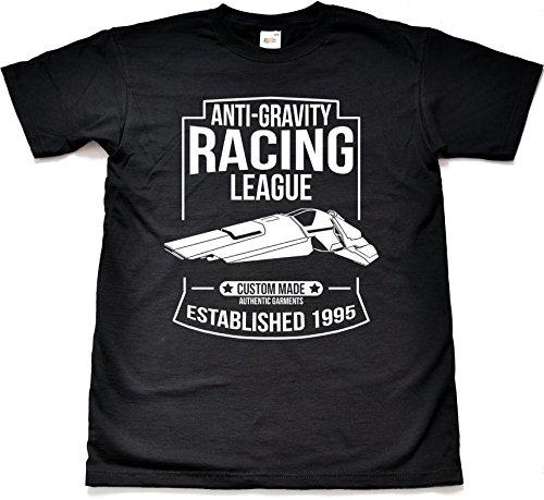 Anti-Gravity Racing League lustig Retro Schwarz T shirt Small (Black T-shirt Lustige Tee-small)