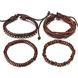 COOLSTEELANDBEYOND Mischen von 4 Braun Wickeln Um Strap Armband Herren Damen, Multi-Strang Holz Perlen mit Nieten Lederarmband