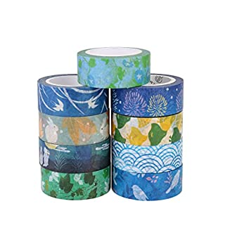 Washi Tape, Aulola® Decorative Japanese Masking Self Adhesive Tape Sticky Paper Tape Collection for Journals, Scrapbooks, Daily Planners, Phone DIY, Gift Wrapping Office Party Supplies (Pack of 9)