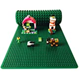 """Icellent Green Silicone Brick Building Play Mat, 12"""" x 32"""" Double Sided Base plate Mat, Rollable and Flexible, Compatible with Lego and Duplo for Activity Tables"""