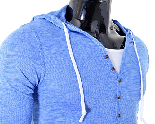 D&R Fashion Männer T-Shirt Sweatshirt mit Kapuze Slim Fit Gelegenheits Grau Blau Blau