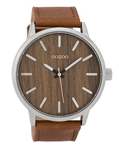 Oozoo Herrenuhr mit Lederband Wood 45 MM Dunkelbraun Holz/Braun C9255