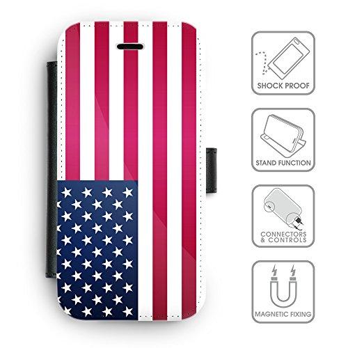 Delle cellule Phone Card Slot cassa del raccoglitore di cuoio // V00001309 USA bandiera nazionale (Pronto Basamento Della Bandiera)
