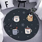 HYDWX Alfombra Alfombra Redonda, Quatre tasses à thé Estera para computadora Silla de Centro Mesa de Noche, Mesa de Noche, Sala de Estar, Alfombrilla de Piso 100x100CM
