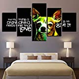 mmwin Canvas HD Prints Home Decor 5 Unidades Animal Dog Wall Art Words para Niños Habitación Modular Imágenes Obra Creativa Poster